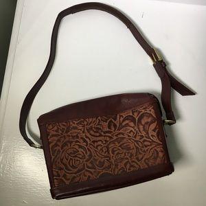 SAS Floral Tooled Leather Handbag